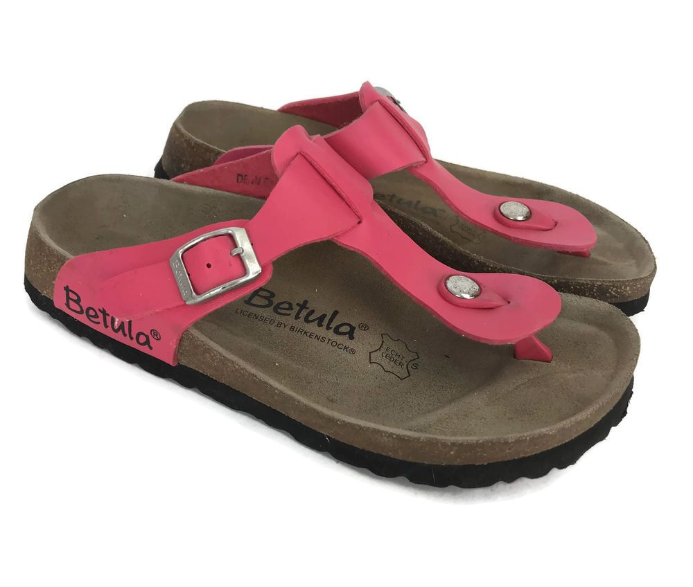 3ccf1743492 Betula By Birkenstocks Hot Pink Leather Thong Sandals Size 36 3
