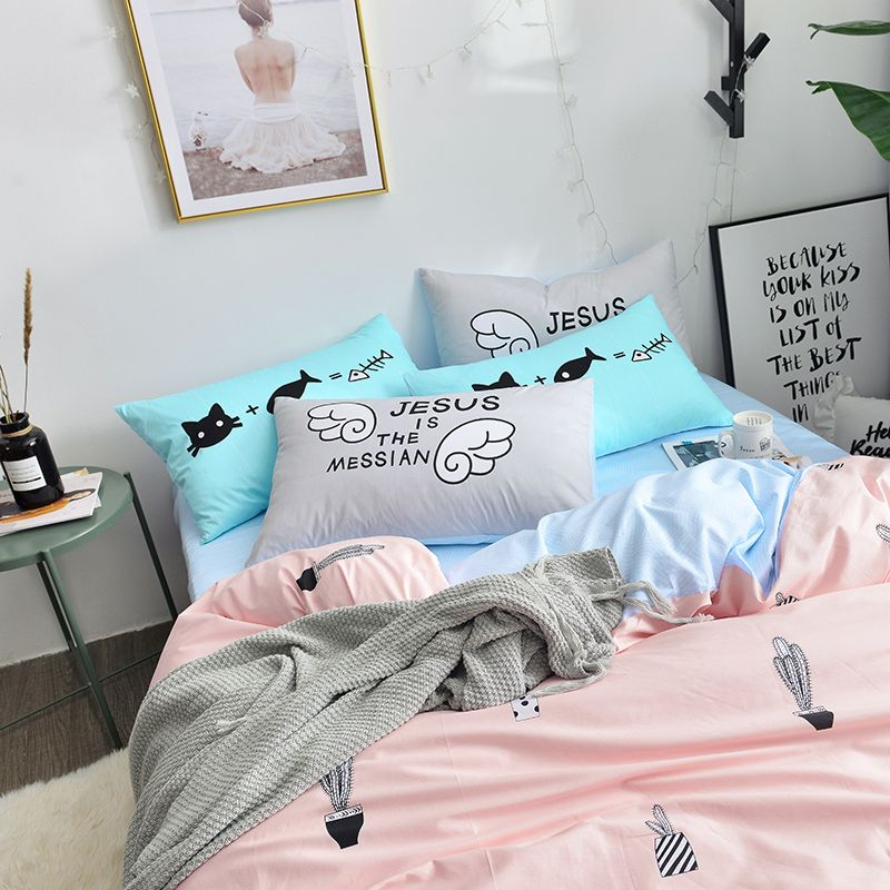 Pink Bedding Set Queen Size Duvet Cover Bed Sheet Twin Bedding