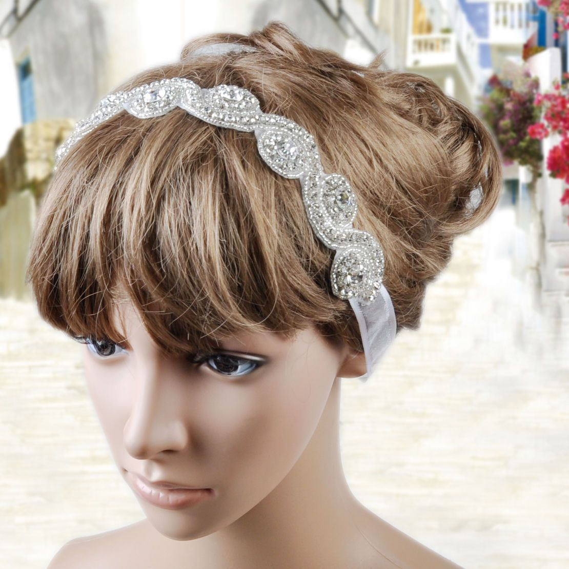 details about full crystal rhinestone beads bridal hair band