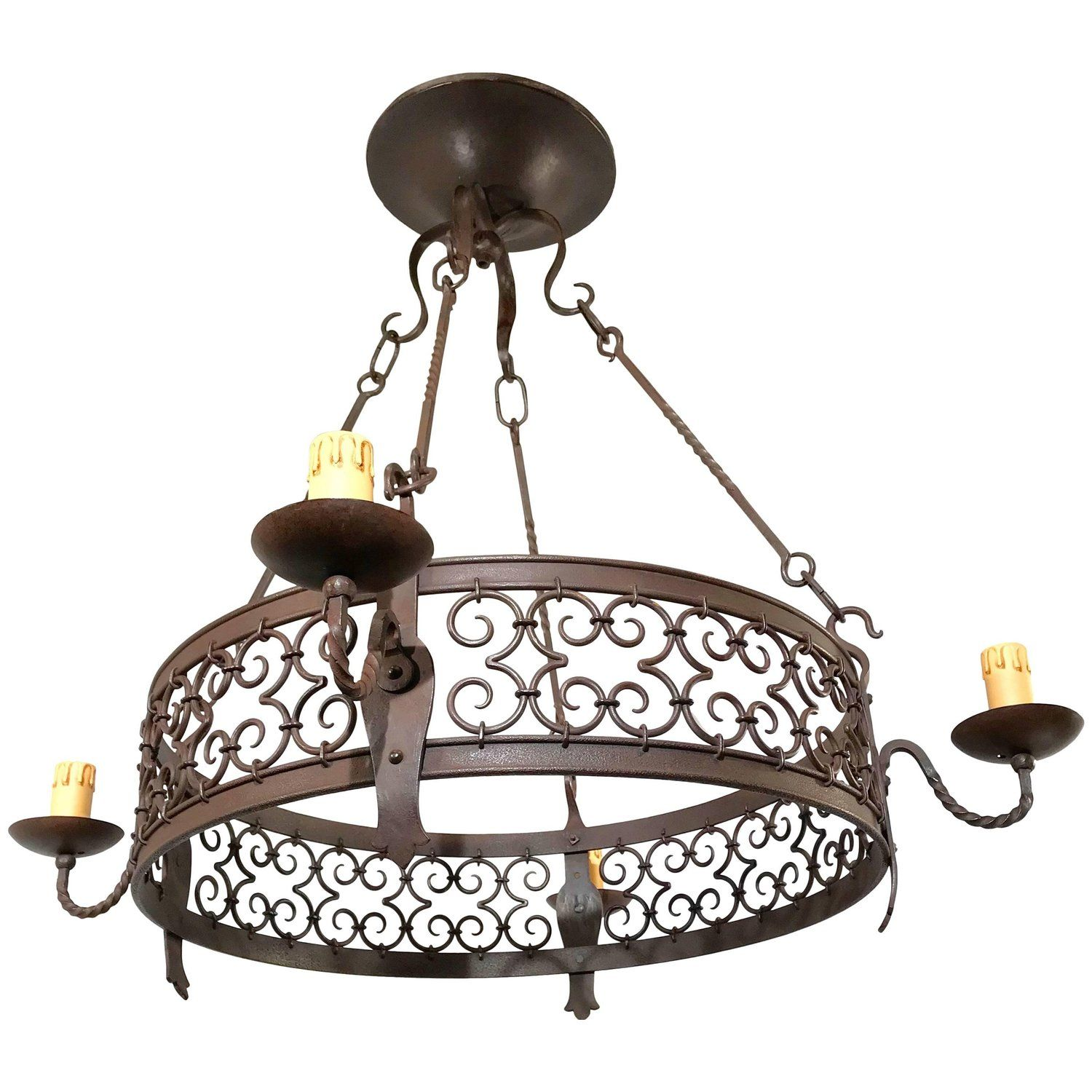 Large Arts And Crafts Forged In Fire Wrought Iron Chandelier Light Fixture Wrought Iron Chandeliers Iron Chandeliers Pendant Light Fixtures