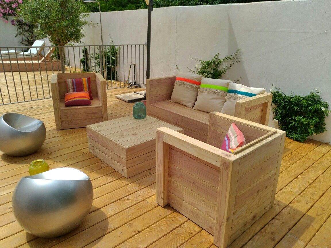 Salon de jardin en bois. Fabrication artisanale en douglas par ...