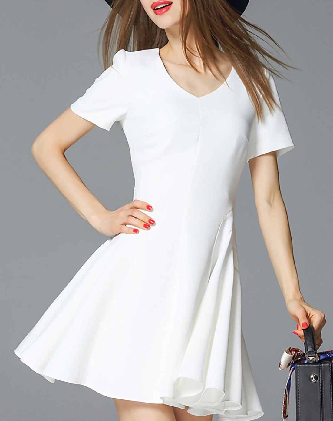 Adorewe oushang for girl white short sleeve skater mini dress