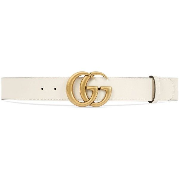 ddabda56c Gucci Leather Belt With Double G Buckle ($440) ❤ liked on Polyvore  featuring accessories, belts, white, women, gucci, buckle belt, 100 leather  belt, ...