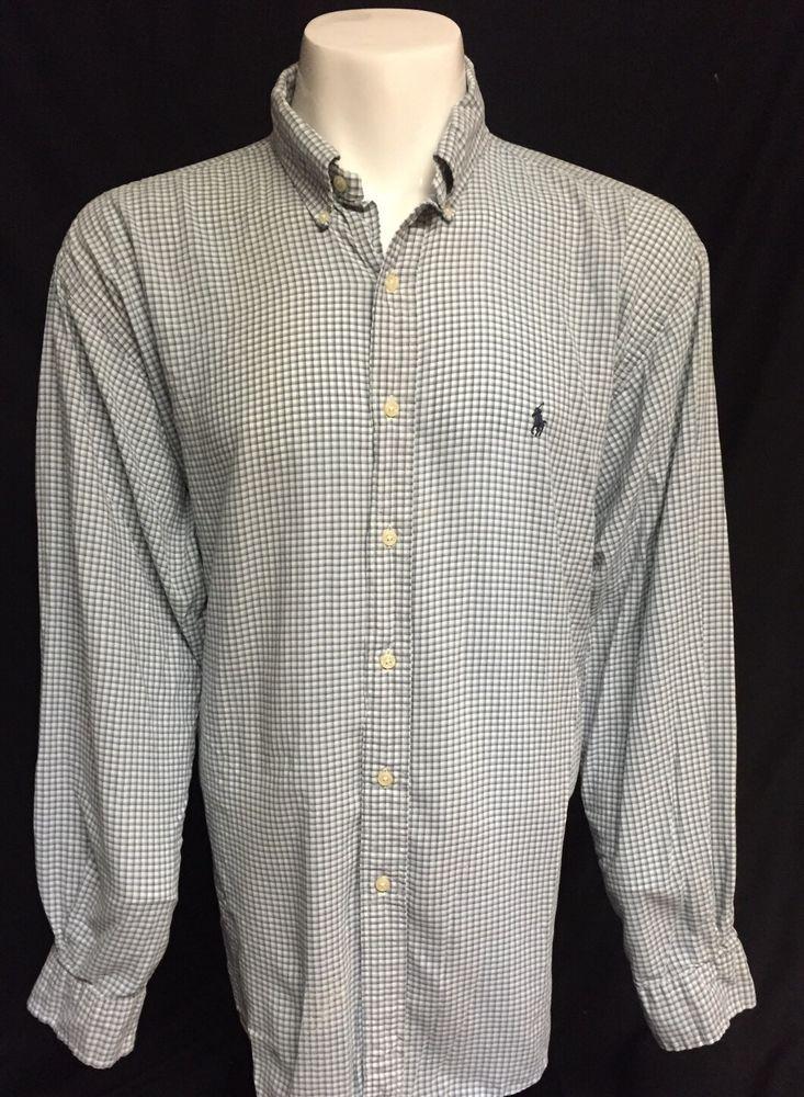 Ralph Lauren Blue White Checked XXL Long Sleeve Button Front Shirt 2XL #RalphLauren #ButtonFront