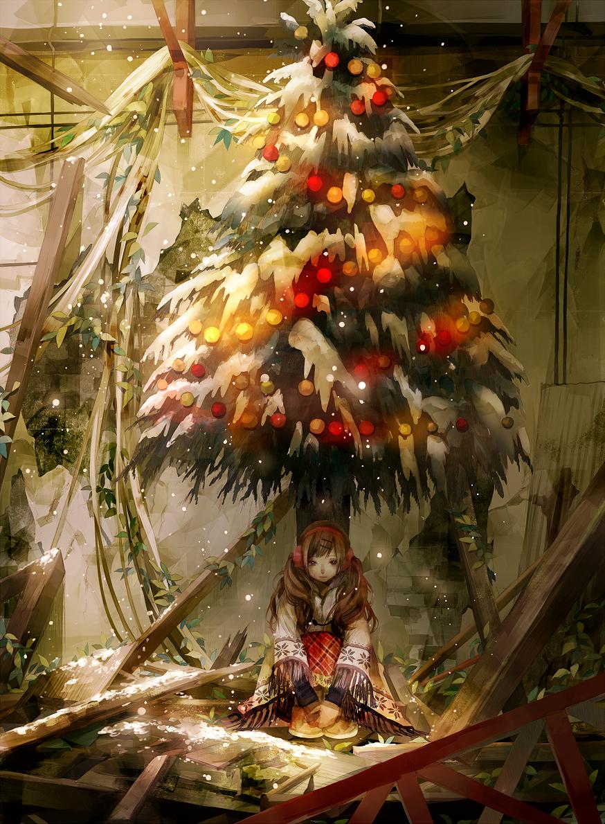 Anime art, Girl, Chrismas tree, snow, rubble, garland