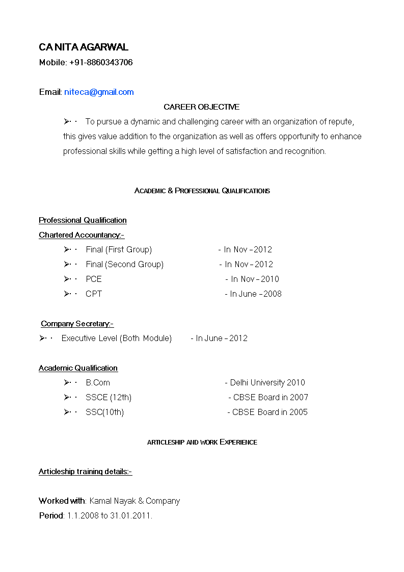 Fresher Professional Resume - How to create a Fresher ...
