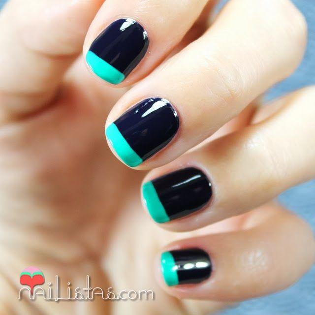 U as con manicura francesa de colores en azul y verde - Manicura francesa colores ...