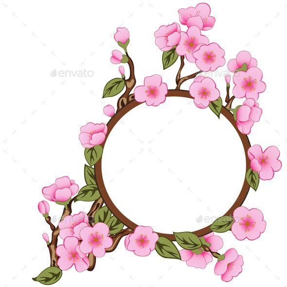 Floral Frame With Sakura Floral Sakura Frame