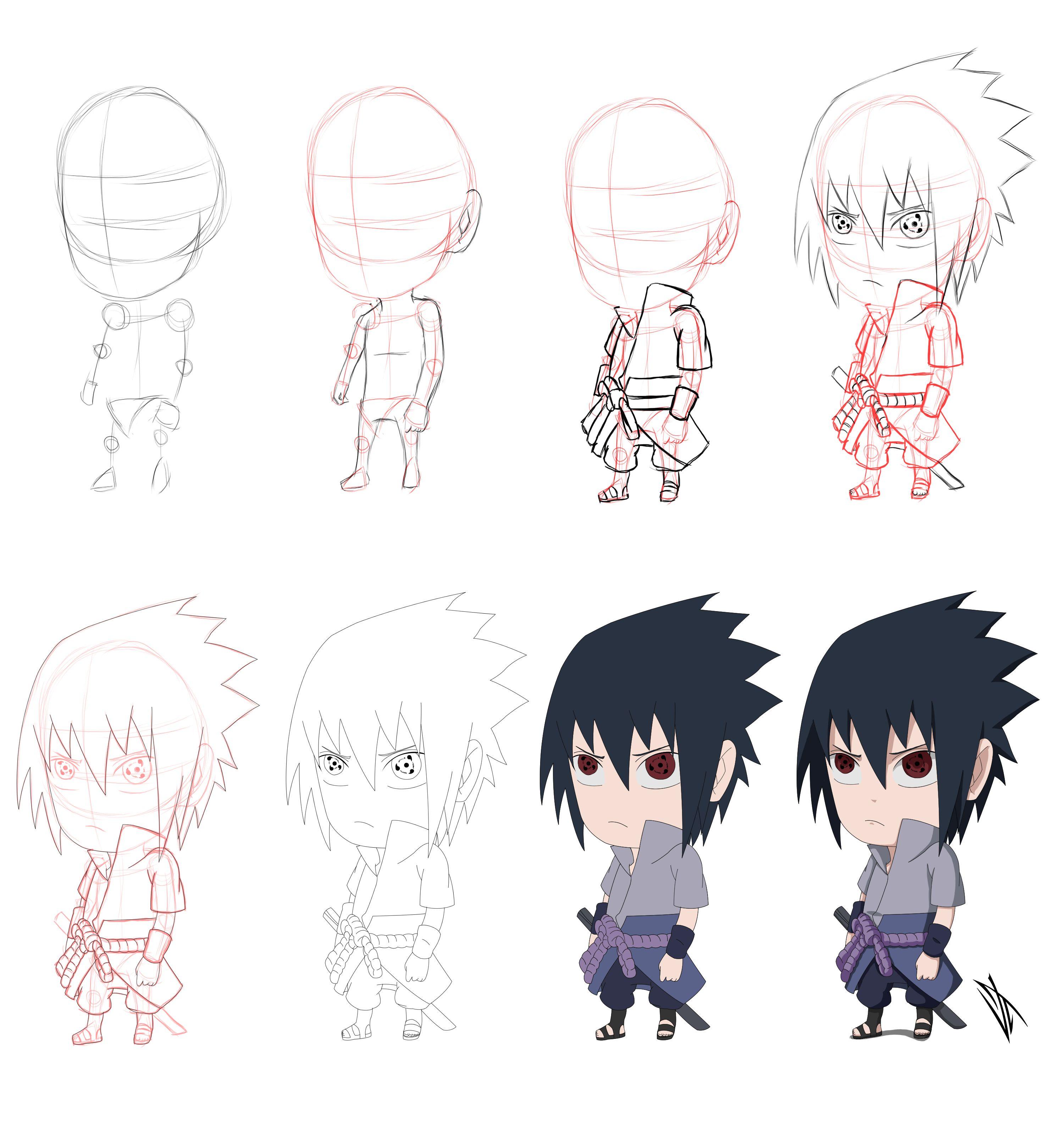 How To Draw Chibi Sasuke Uchiha Step By Step