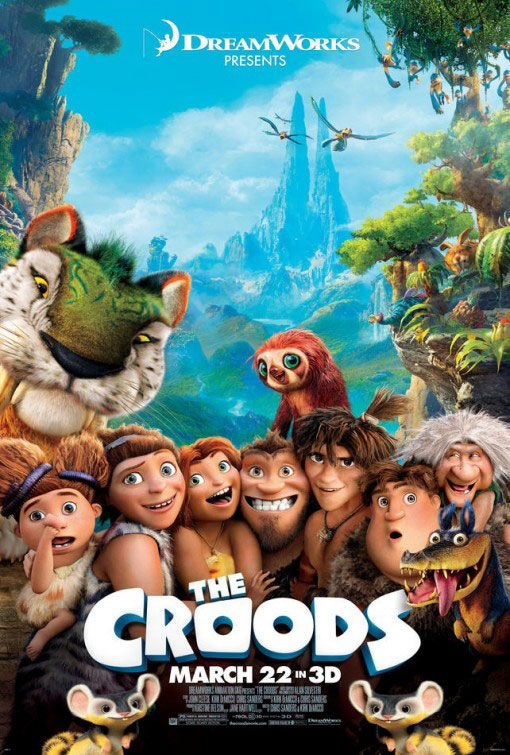 The Croods , starring Nicolas Cage, Ryan Reynolds, Emma Stone, Catherine Keener. After their cave is destroyed, a caveman family must trek through an unfamiliar fantastical world with the help of an inventive boy. #Animation #Adventure #Comedy #Family #Fantasy