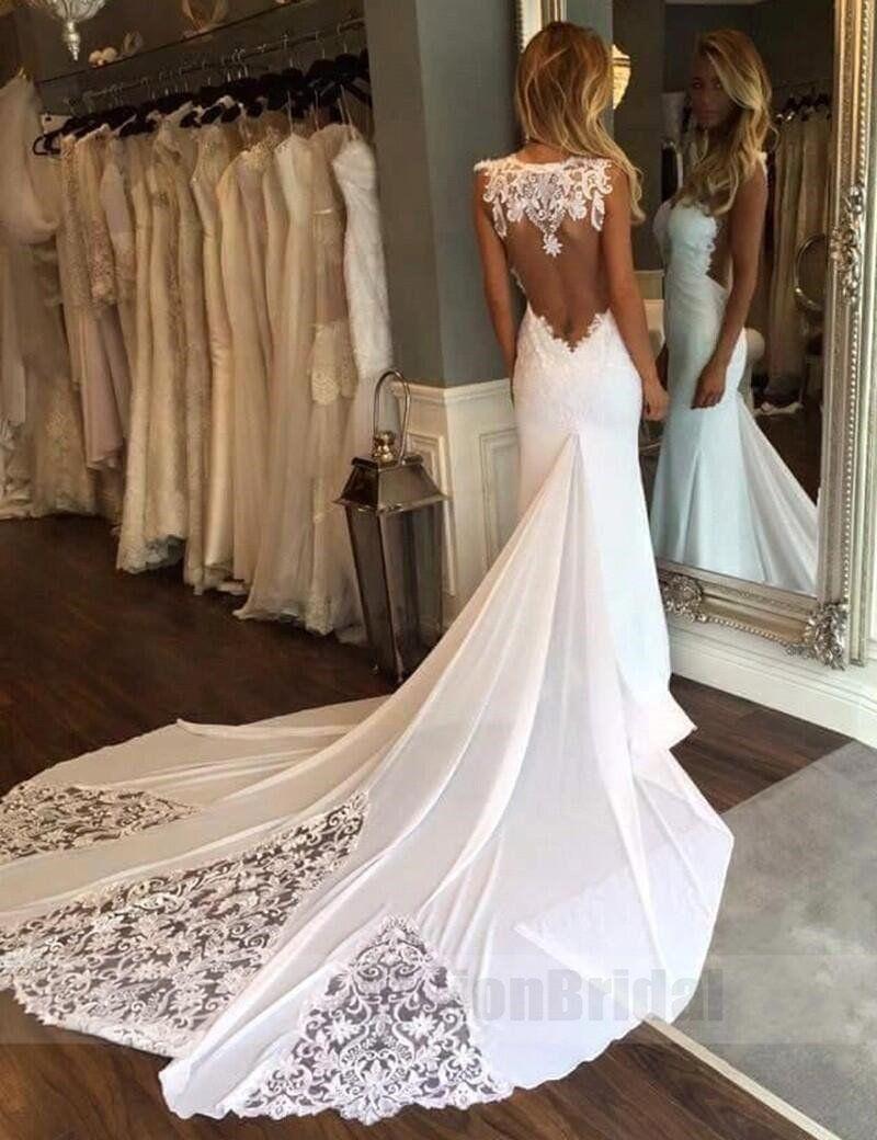 Unique Cheap Mermaid Sweetheart Jewel Chapel Train Lace Wedding Dress Wedding D Wedding Dress Organza Lace Wedding Dresses Uk Backless Mermaid Wedding Dresses [ 1040 x 800 Pixel ]
