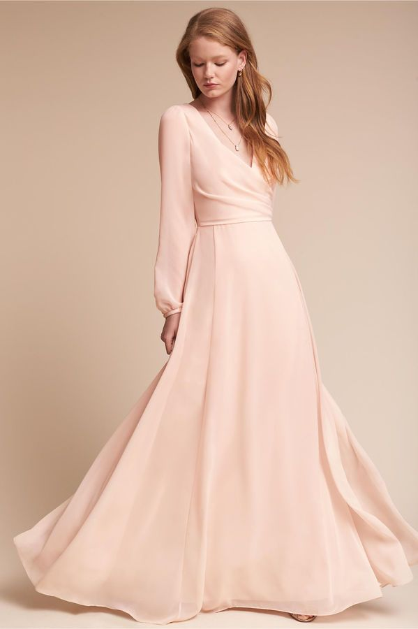 8392f7836ea Long Sleeve Pink Blush Bridesmaid Gown. Perfect Dress For A Winter Wedding