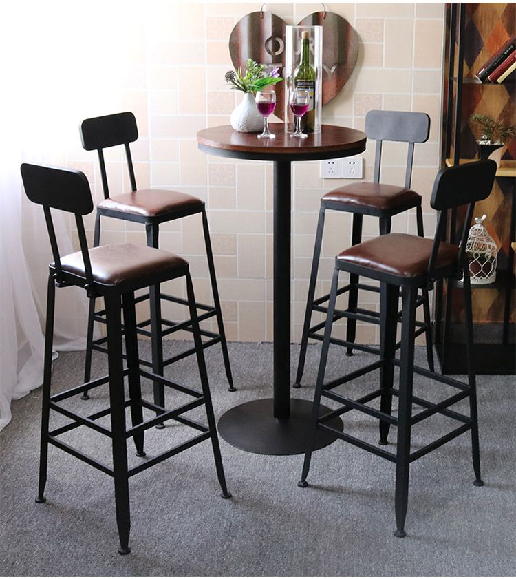 Iron retro high chair bar stool solid wood table and Chair