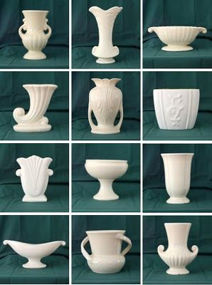 Might pull together a collection of American pottery - white, 1940's era. Vases, bowls, figurines, planters.