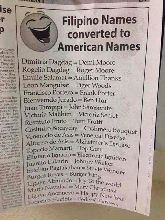Americanized Filipino names   Laughs and Practical Jokes