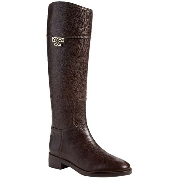 2f647d4c0c01 Pre-owned Tory Burch Joanna Riding Coconut Leather Boots ( 450) ❤ liked on