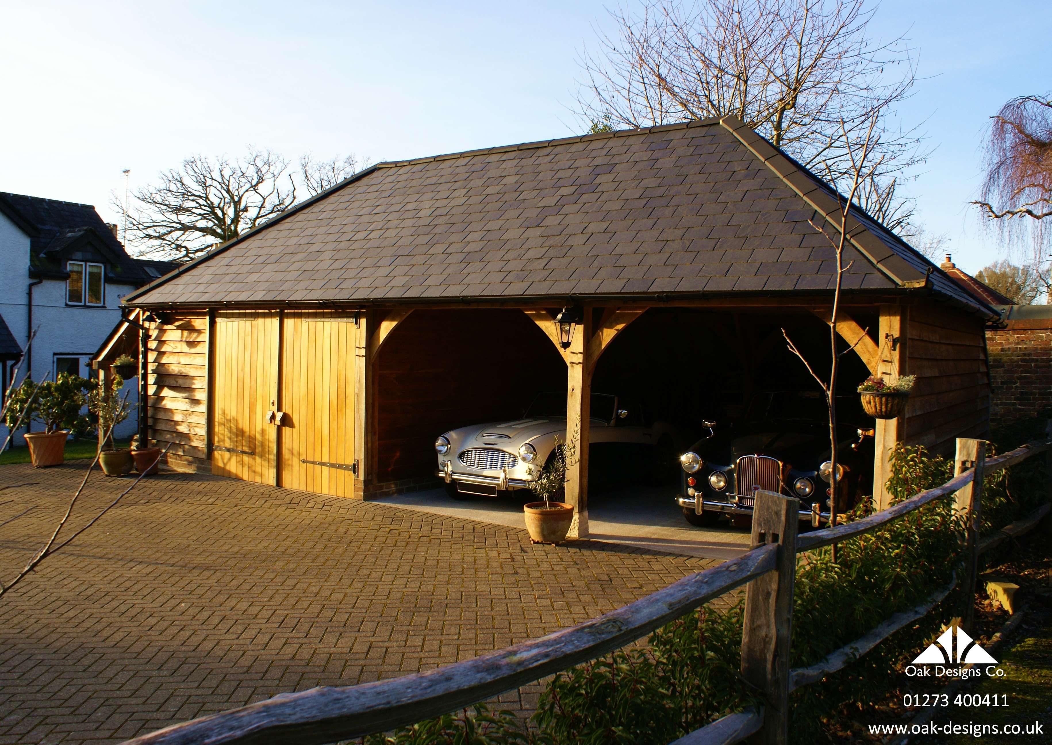 A 3 1 2 Bay Oak Frame Garage With Logstore Workshop Garage Design House Styles Garage