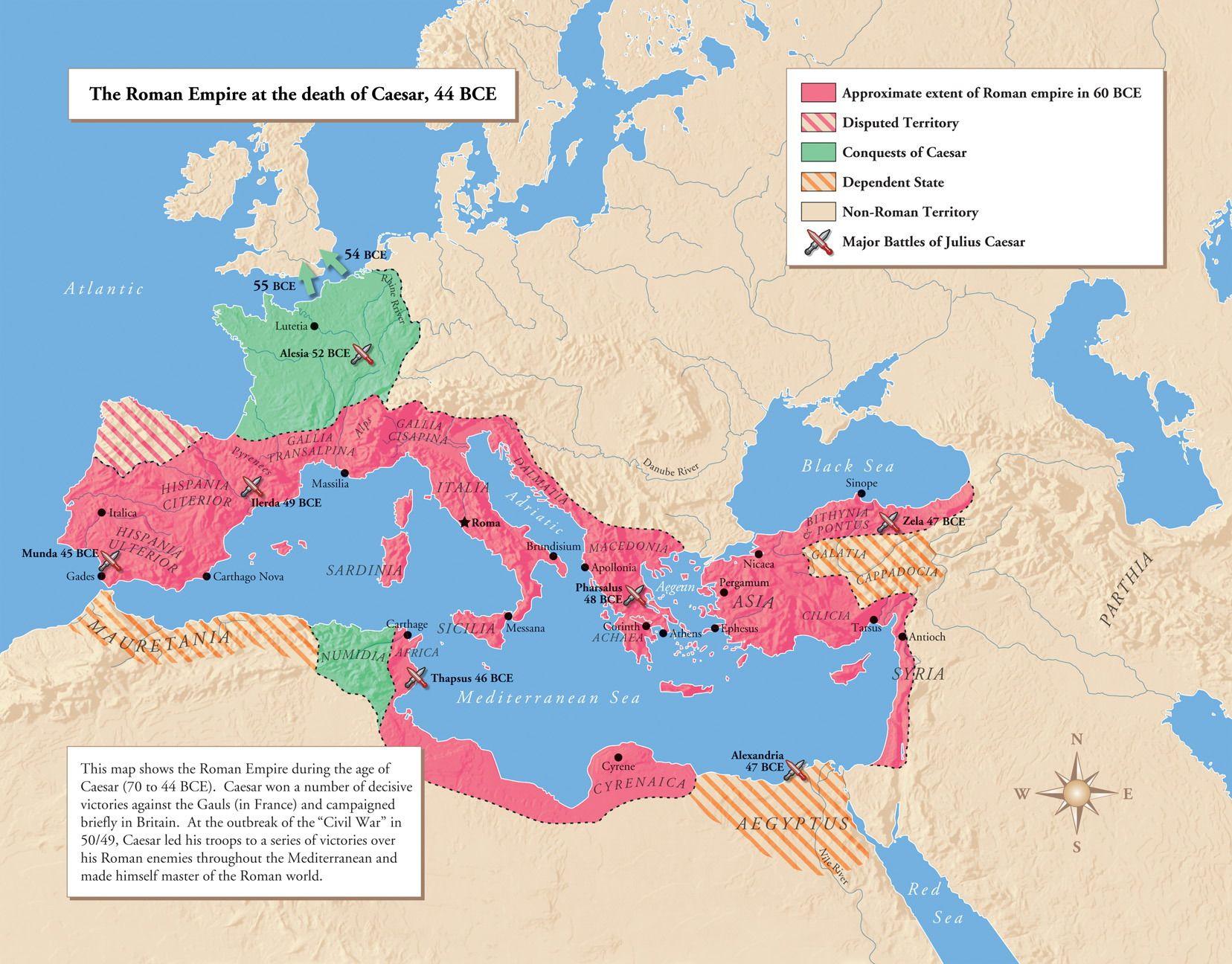 Julius Caesar S Conquest Of Gaul Map Of Empire Around 50