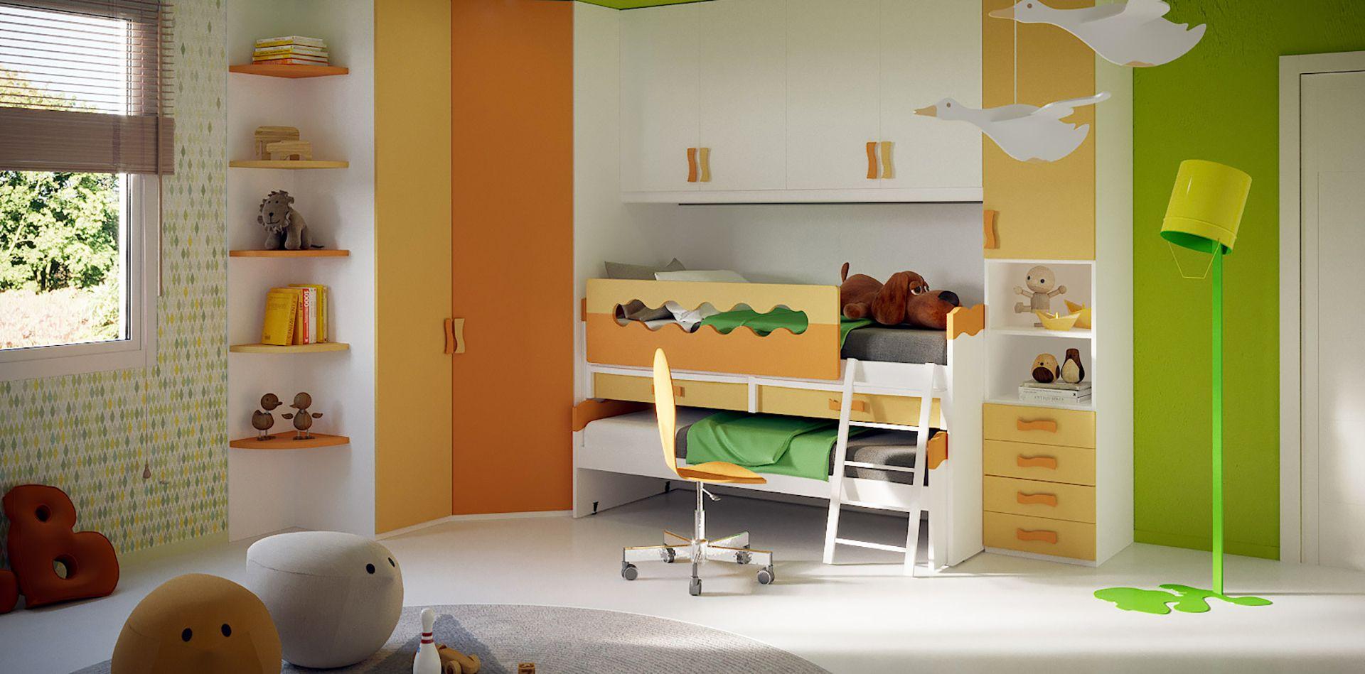 Cameretta A Ponte Arancione.Cameretta Per Bambini A Ponte Colore Bianco E Arancione S2