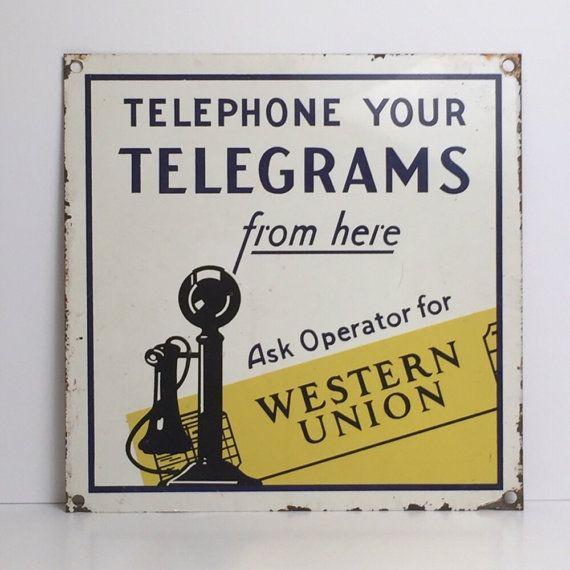 Vintage Western Union Sign Telephone Sign Telegram Sign Trade Sign Signs Vintage Graphic Design