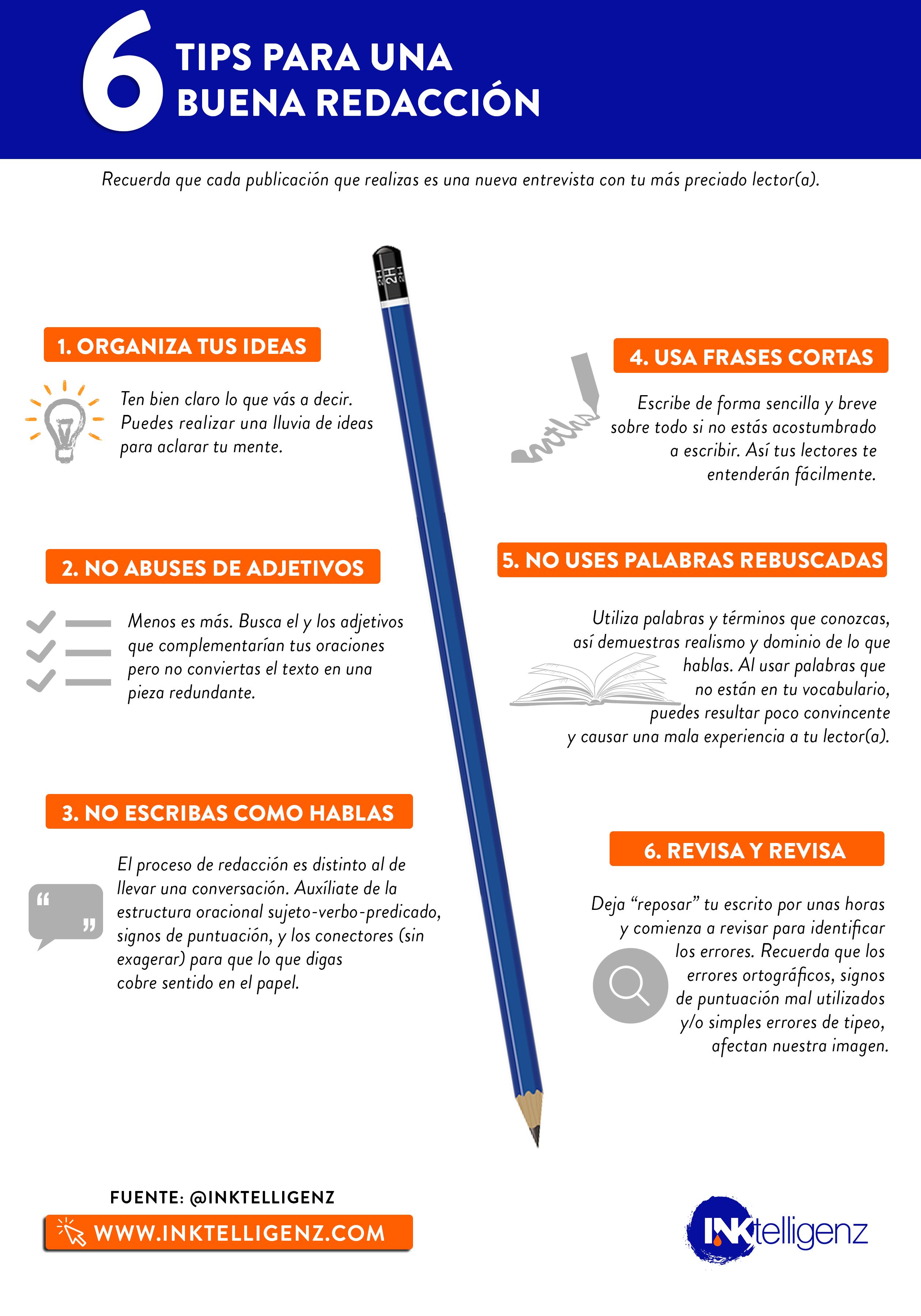 6 Tips Para Una Buena Redacción Mantén Esto Bien Cerca Al Momento De Redactar Y Te Ahorrar Consejos Sobre Escritura Redacción De Textos Desafío De Escritura