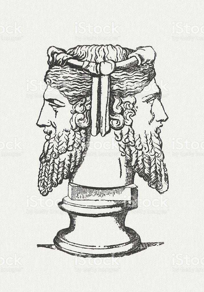 Janus, ancient roman god, wood engraving, published in ...