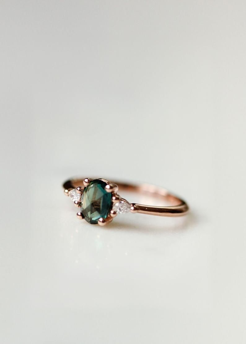 Green Sapphire Engagement Ring | Oval Engagement Ring | 3 Stone Rose Gold Ring | Oval Rose Cut Sapphire | Trilogy Ring [The Amelia Ring]