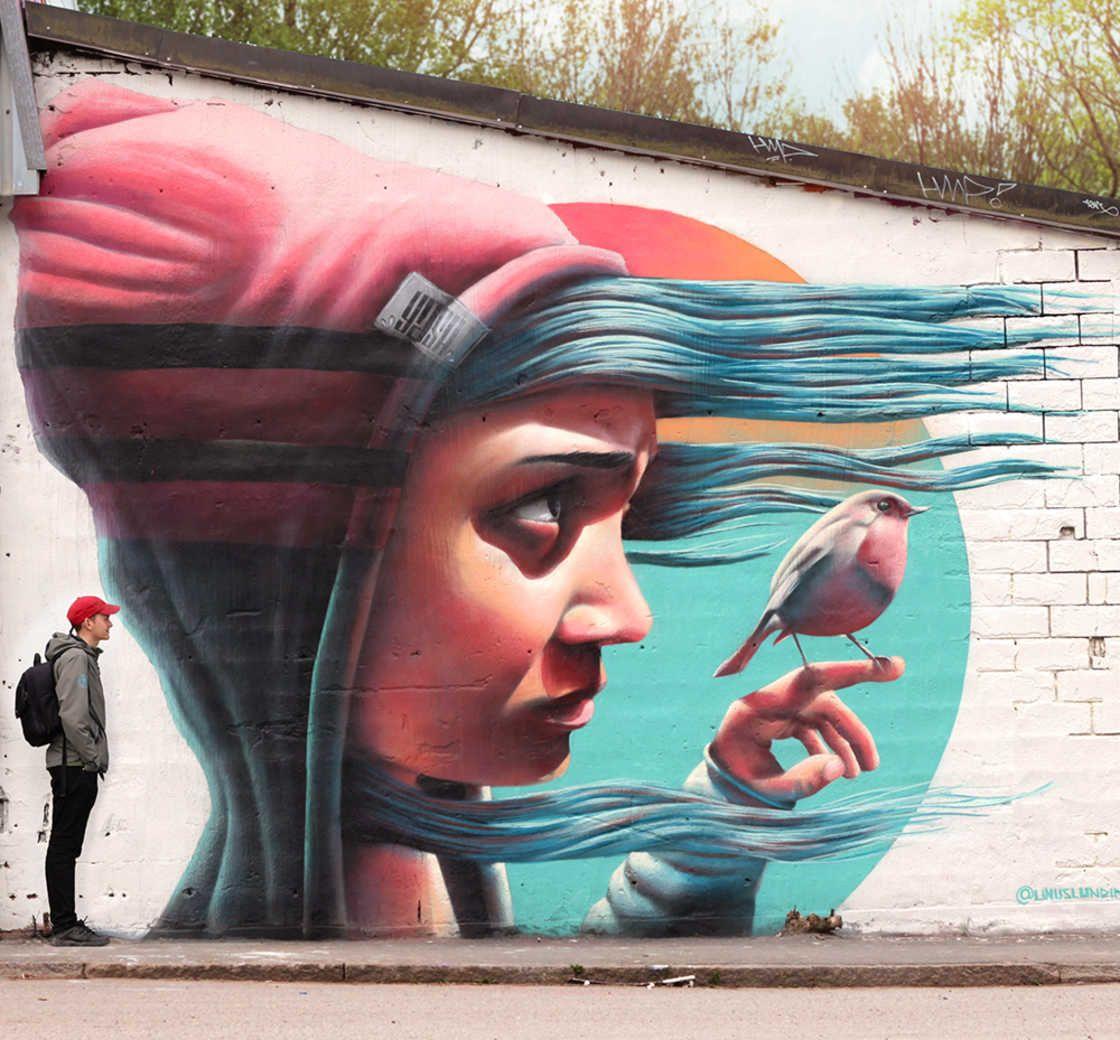 """"""" Sans ses cheveux qui volent, J'aurais dorénavant Des difficultés folles A voir d'où vient le vent..."""" ( Georges Brassens ) / Street art. / Stockholm. / By yash-one, alias Linus Lundin."""