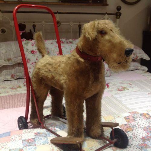 Vintage Dog On Wheels Irish Welsh Fox Terrier Push Along Toy Dog Baby Walker Vintage Dog Dog Toys Old Fashioned Toys