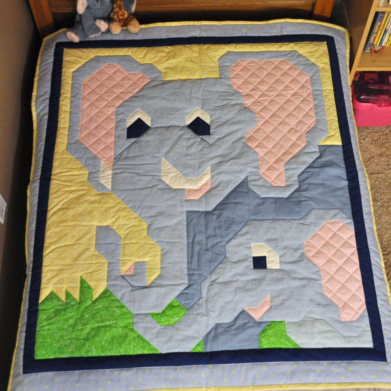 Baby Blue Elephant Pattern in Multiple sizes - PDF. $9.00, via ... : elephant quilt patterns - Adamdwight.com