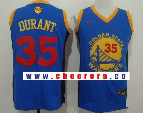 c8e11e78bc6 Men s Golden State Warriors  35 Kevin Durant Blue With Red Fashion Stitched  NBA Nike Swingman 2017 The NBA Finals Patch Jersey