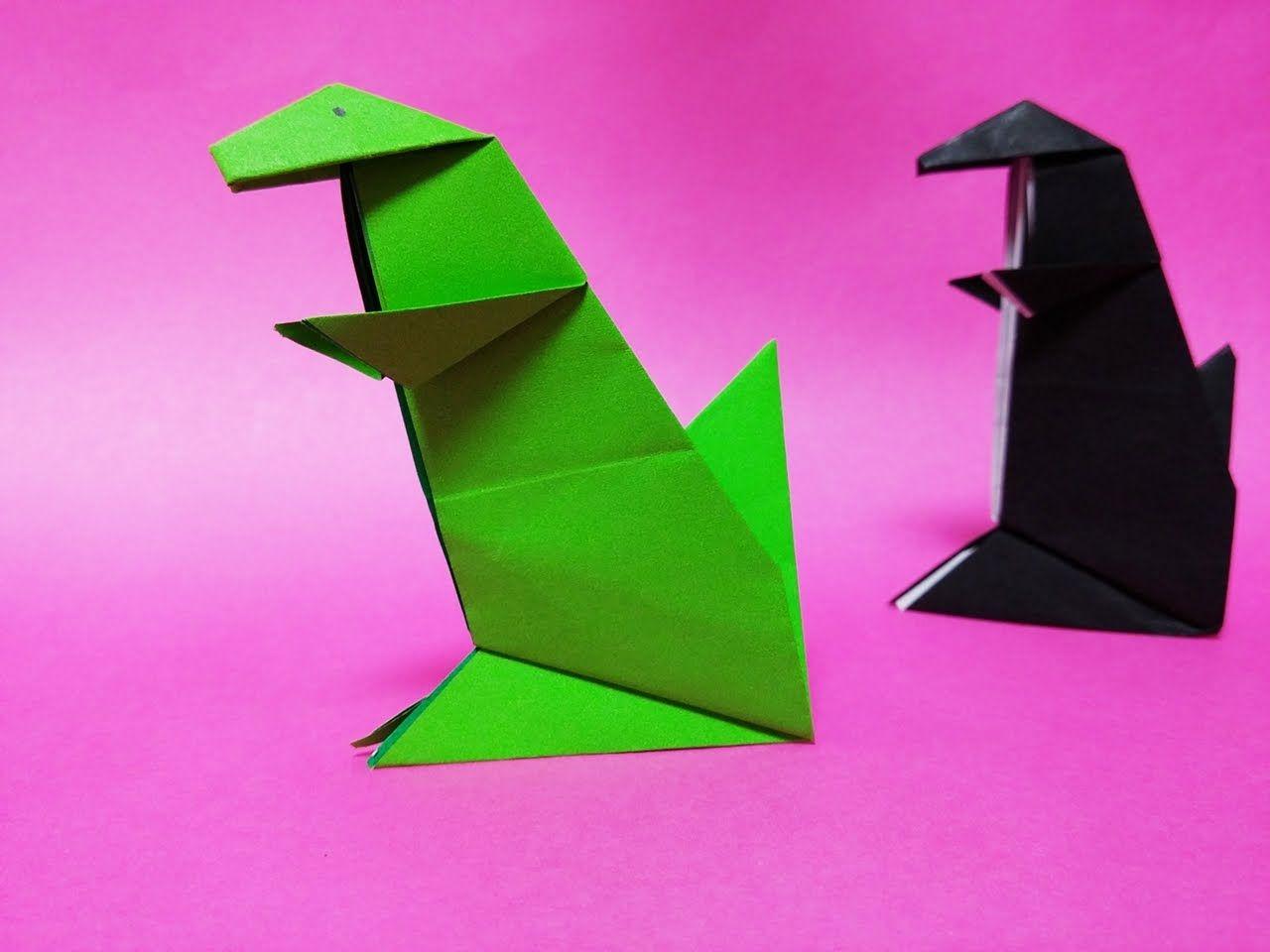공룡 종이접기 Easy origami dinosaur t-rex | Оригами | 종이접기 и 공룡 - photo#35