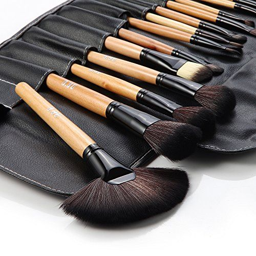 DRQ Professional Makeup Brush Set| Pro Cosmetic-32pc Studio Pro Makeup Make Up Cosmetic Brush Set Kit w/ Leather Case - For Eye Shadow, Blush, Concealer, Etc. (Black & Wood) ** Click on the image for additional details.