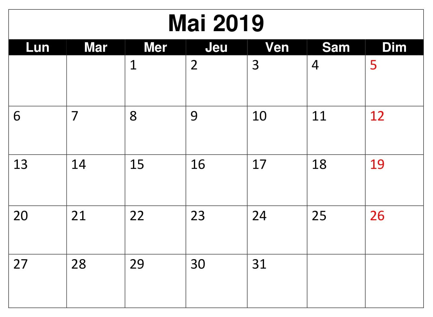 Template Calendrier 2019.Calendrier 2019 Editable Mai Blank Calendar Template 2019