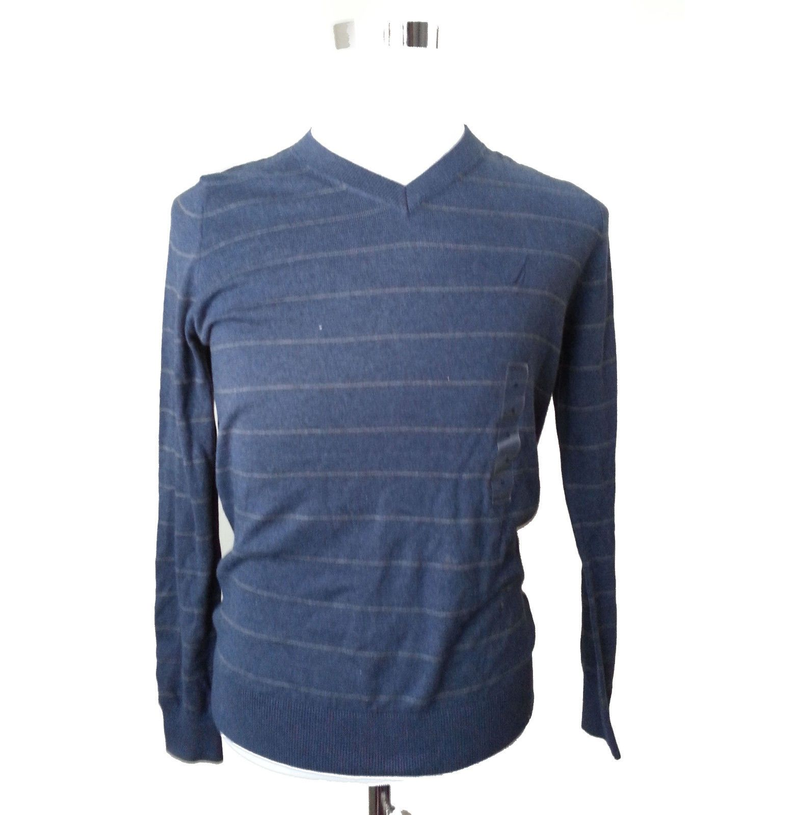 Details about NAUTICA men cotton v-neck sweater size S blue with ...