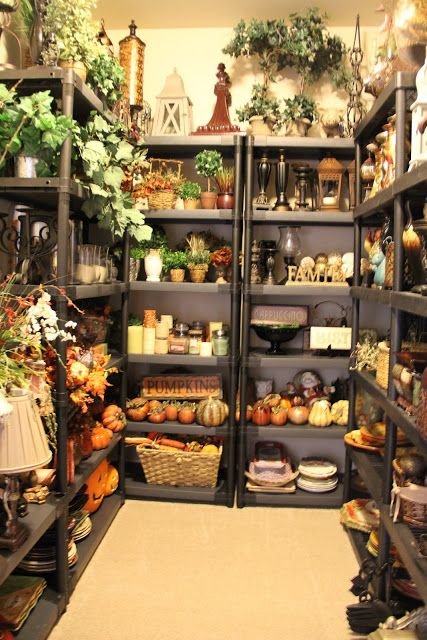 Every girl needs one of these, your very own home store.Take your decor items out of those bins and store them on storage shelves. So, when you feel the need to decorate you know where everything is and everything has it's place. Decorating becomes a breeze.