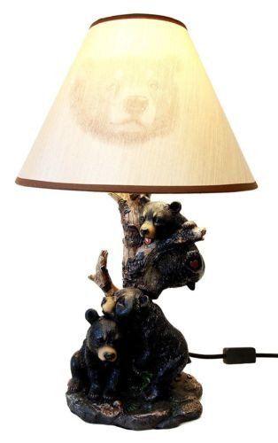 20 H Follies Beargere Three Black Bears Family On Tree Night Table Desk Lamp Lamp Table Lamp Desktop Lamp