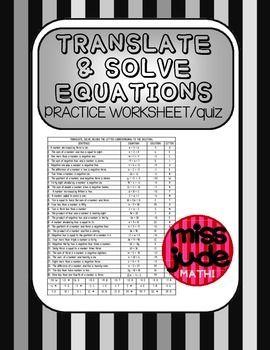 Translate Solve Simple Equations Practice Worksheet Or Quiz