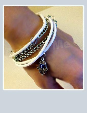 WhiteMetallic Green Khamsa Bracelet by EvilEyeMe on Etsy, $19.99