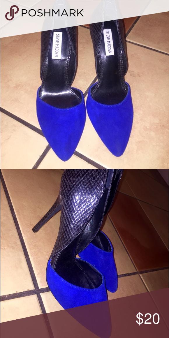 Steven Madden colbalt blue/black pumps Size 8. Steve Madden Shoes Heels