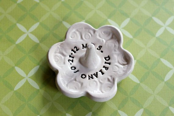One Personalized Ring Catcher Great Bridal Shower by MissPottery, $17.00