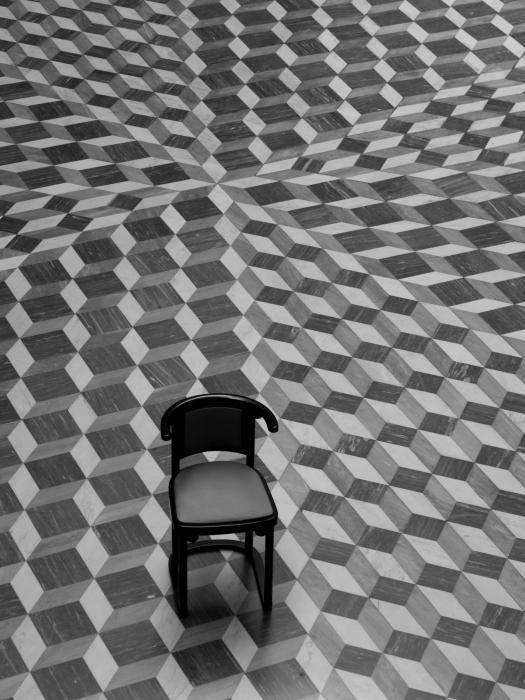 Escher Like Chair By Jim Delillo White Tile Floor Tile Floor Flooring
