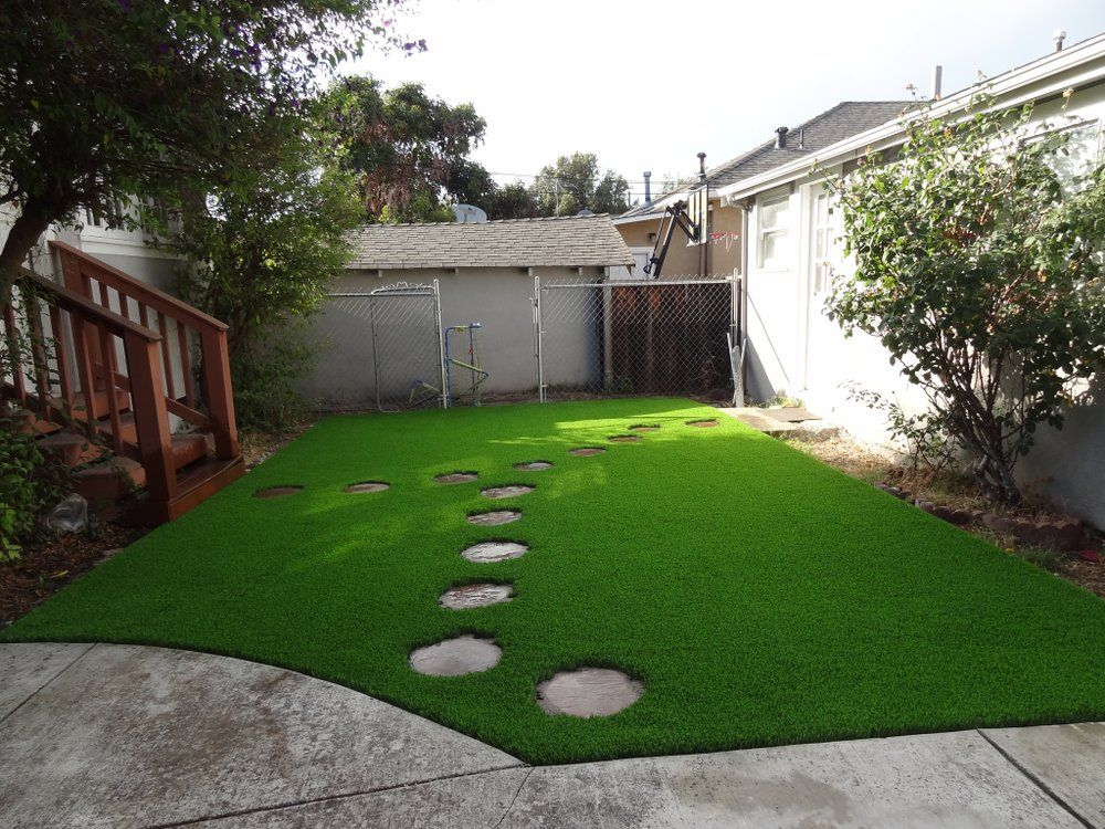 Better Than Real Artificial Grass Photos Artificial Grass Stepping Stone Paths Round Stepping Stones