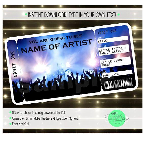 Printable Concert Surprise Ticket Template Digital PDF File Ticket