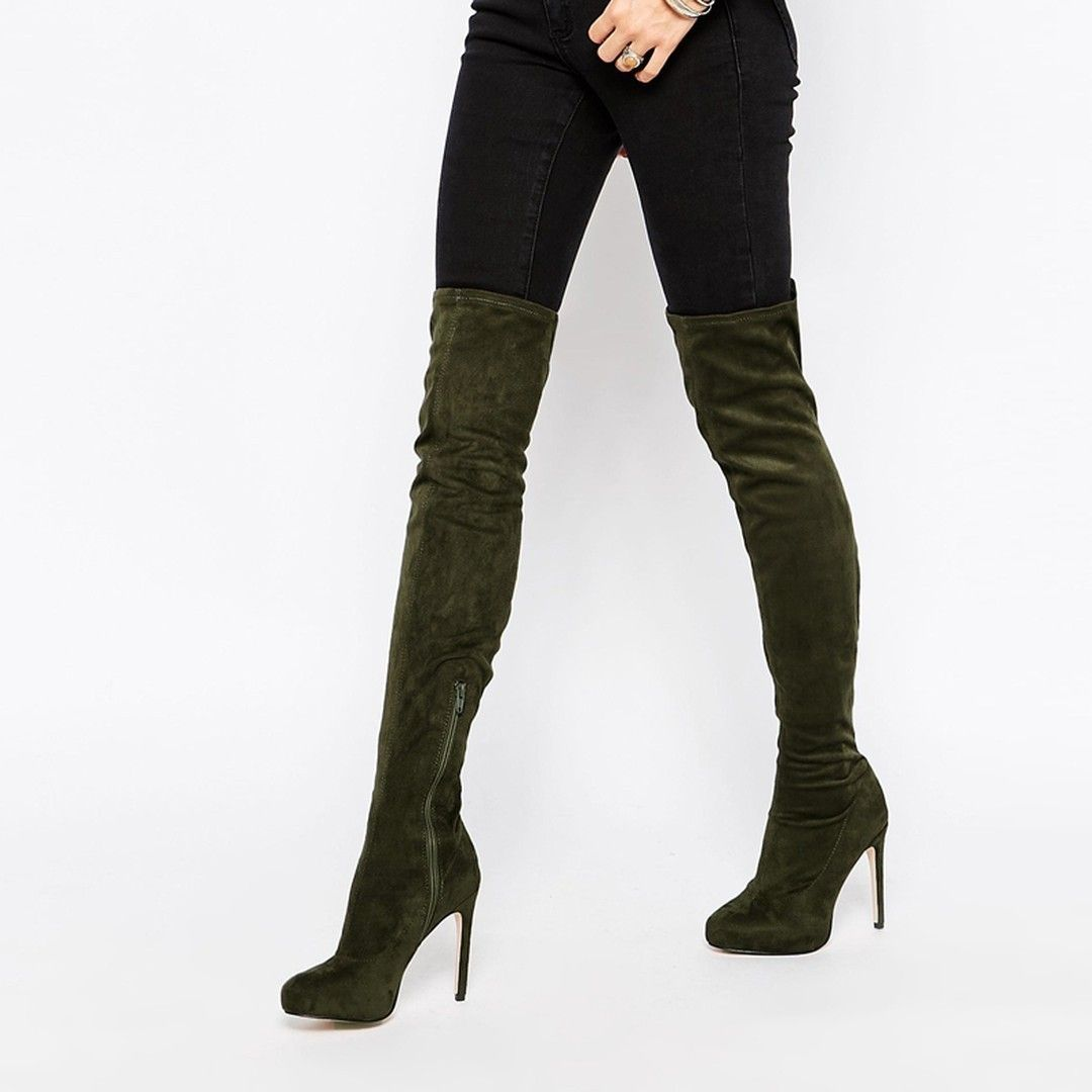 f9904885a3b Shoespie Suede Zippers Thigh High Boots