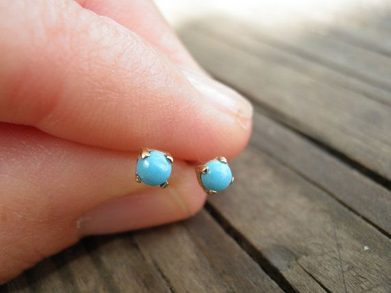 14k Gold Studs Tiny 3mm Turquoise Stud Earrings Turq Uoise Post Stone St