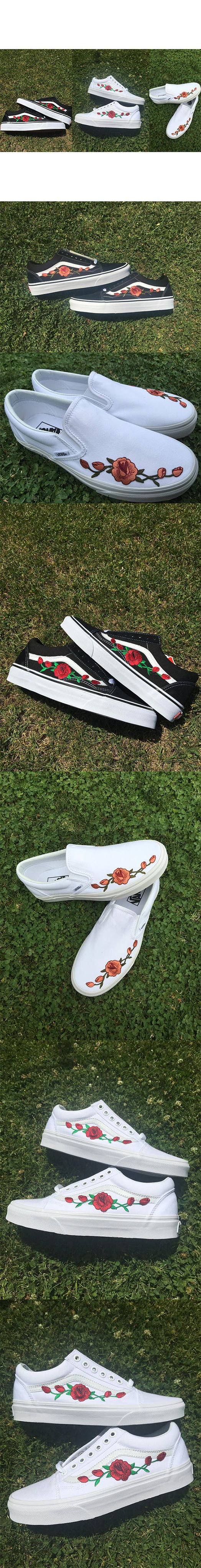 Custom Vans Red Pink Rose Old Skool Slip On Iron Black Hand Made