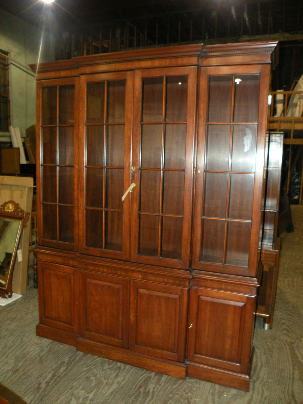 Henkel Harris Solid Cherry Dining Room Breakfront China Cabinet Hutch