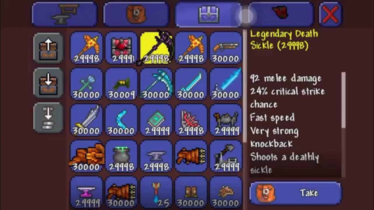 Want All Terraria Ios 1 2 Items World Download 30 000 Everything