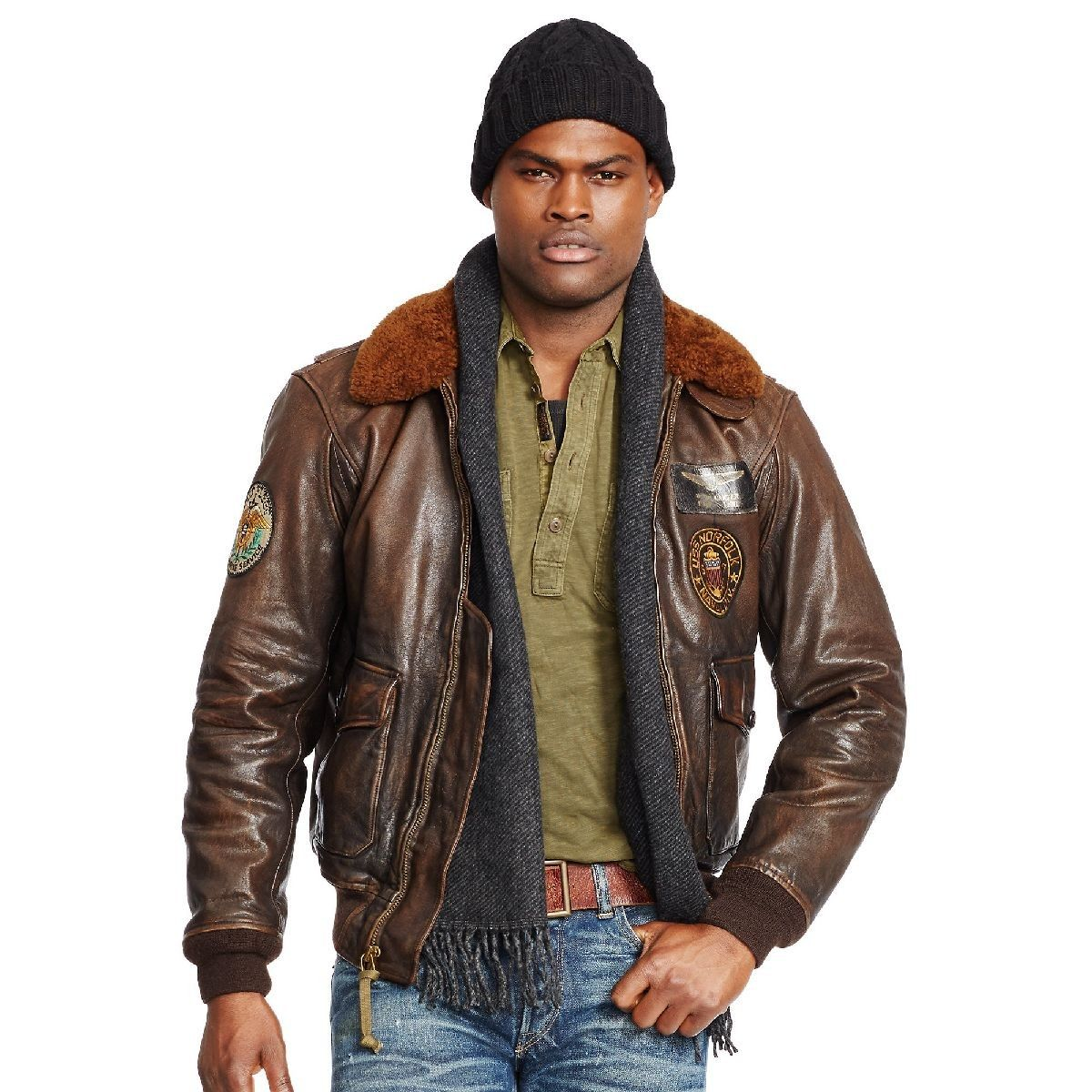Rustic mens rustic Ralph Lauren Bomber Leather Jacket